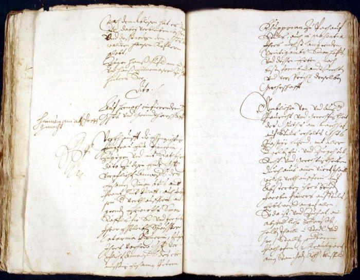 Protokoll vom März 1727 - Verfachbuch des Gerichts Passeier, heute im Südtiroler Landesarchiv in Bozen